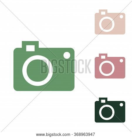 Digital Camera Sign. Russian Green Icon With Small Jungle Green, Puce And Desert Sand Ones On White