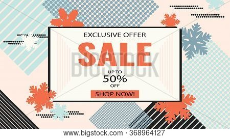 Winter Sale Vector Banner Design. Winter Sale Discount Text. Christmas, New Year, Winter Sale Banner