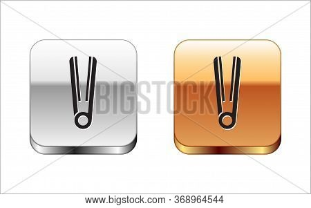 Black Curling Iron For Hair Icon Isolated On White Background. Hair Straightener Icon. Silver-gold S
