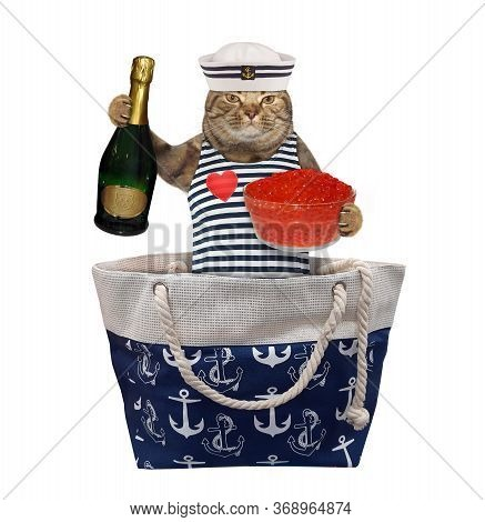The Beige Cat In Seaman Clothing With A Bottle Of Champagne And A Jar Of Red Caviar Is Sitting In A