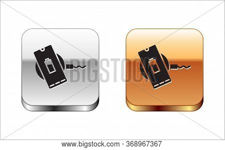Black Smartphone Charging On Wireless Charger Icon Isolated On White Background. Charging Battery On