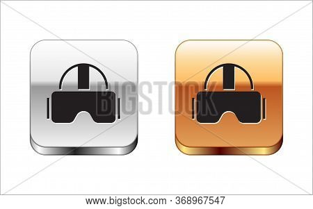 Black Virtual Reality Glasses Icon Isolated On White Background. Stereoscopic 3d Vr Mask. Silver-gol