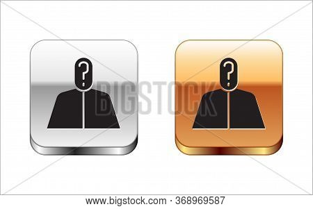 Black Anonymous Man With Question Mark Icon Isolated On White Background. Unknown User, Incognito Pr