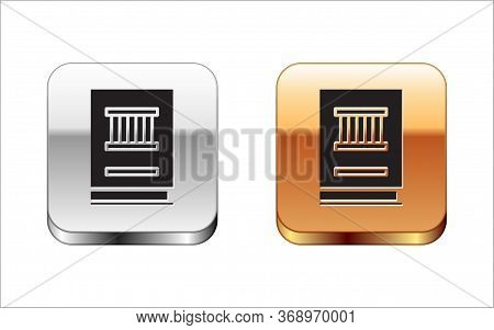 Black Law Book Icon Isolated On White Background. Legal Judge Book. Judgment Concept. Silver-gold Sq