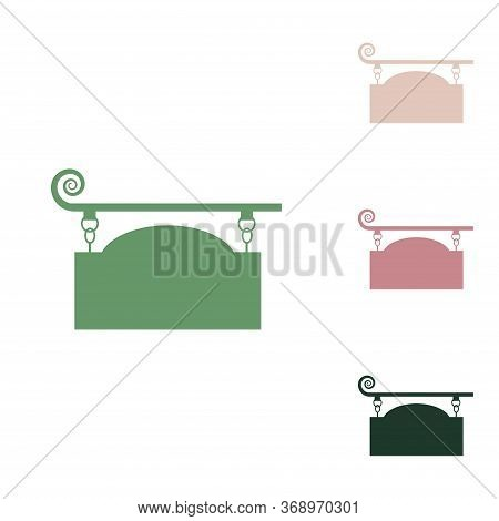 Wrought Iron Sign For Old-fashioned Design. Russian Green Icon With Small Jungle Green, Puce And Des