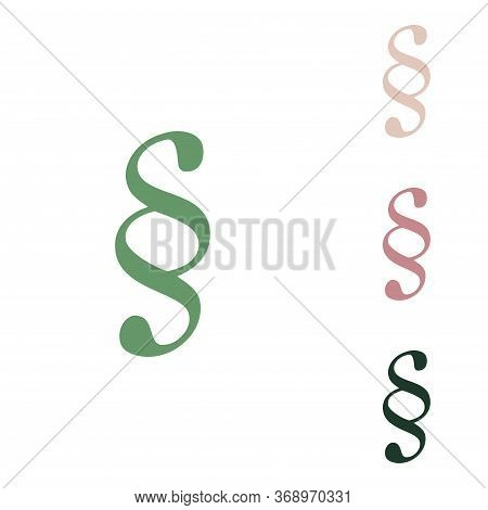 Paragraph Sign Illustration. Russian Green Icon With Small Jungle Green, Puce And Desert Sand Ones O