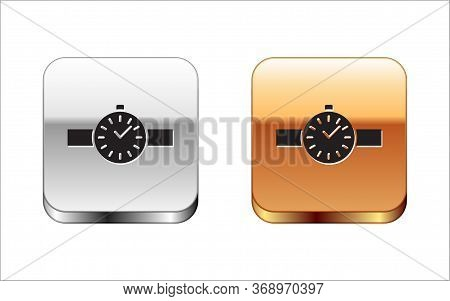 Black Wrist Watch Icon Isolated On White Background. Wristwatch Icon. Silver-gold Square Button. Vec