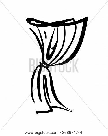 Curtain - Textile. Interior Design Element - Illustration On A White Background. Fabric For The Wind