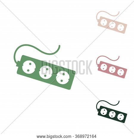 Electric Extension Plug Sign. Russian Green Icon With Small Jungle Green, Puce And Desert Sand Ones