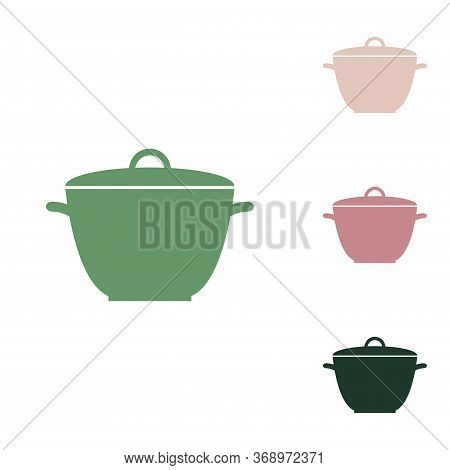 Saucepan Simple Sign. Russian Green Icon With Small Jungle Green, Puce And Desert Sand Ones On White