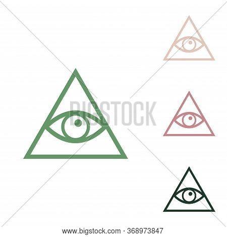 All Seeing Eye Pyramid Symbol. Freemason And Spiritual. Russian Green Icon With Small Jungle Green,