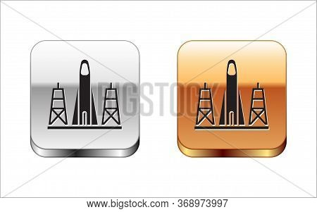 Black Rocket Launch From The Spaceport Icon Isolated On White Background. Launch Rocket In Space. Si