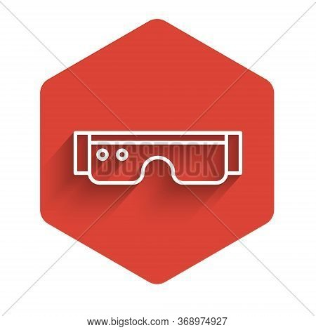 White Line Smart Glasses Mounted On Spectacles Icon Isolated With Long Shadow. Wearable Electronics