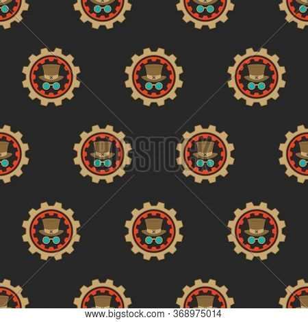 Vector Seamless Pattern. Steampunk Concept, Vintage, Bowler Hat, Glasses Inside The Gears, On A Dark
