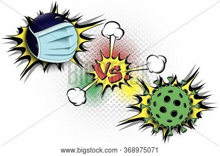 Banner Bowling Vs Covid-19. Bowling Ball With A Protection Mask Against Coronavirus Sign. Cancellati