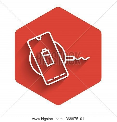 White Line Smartphone Charging On Wireless Charger Icon Isolated With Long Shadow. Charging Battery