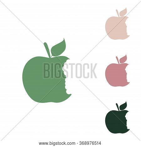 Bited Apple Sign. Russian Green Icon With Small Jungle Green, Puce And Desert Sand Ones On White Bac