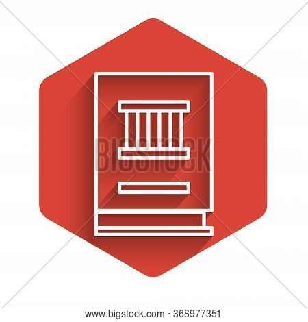 White Line Law Book Icon Isolated With Long Shadow. Legal Judge Book. Judgment Concept. Red Hexagon