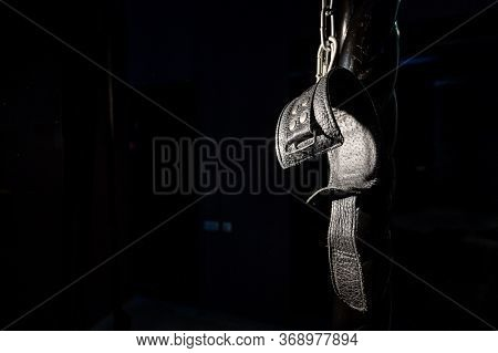 Bdsm Leather Handcuffs For Role-playing Games On A Black Background. Bondage For Carnal Pleasures. D