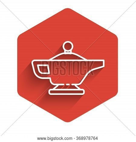 White Line Magic Lamp Or Aladdin Lamp Icon Isolated With Long Shadow. Spiritual Lamp For Wish. Red H