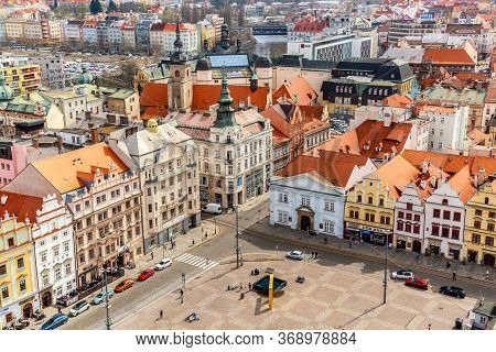 Plzen, Czech Republic - April, 2018: Aerial View From St Bartholomews Cathedral Over Republic Square