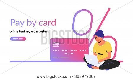 Pay By Card For Online Banking And Investing Creative Banner. Flat Line Vector Illustration Of Woman