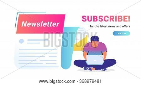 Newsletter Subcription For The Latest News And Offers. Vector Illustration Of Cute Man Sitting Alone