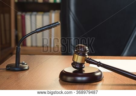 Symbol Of Judge And Justice. Fair And Legitimate Decision. Judges Gavel Wooden Table. Concept Of Law