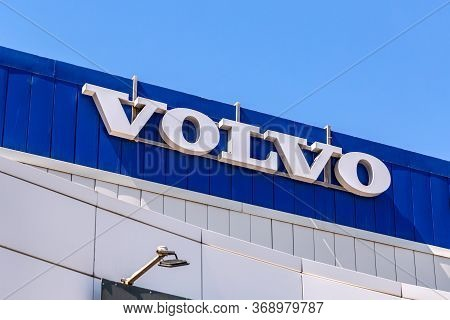 Samara, Russia - May 29, 2020: Volvo Dealership Sign On The Office Of Official Dealer. Volvo Is A Sw