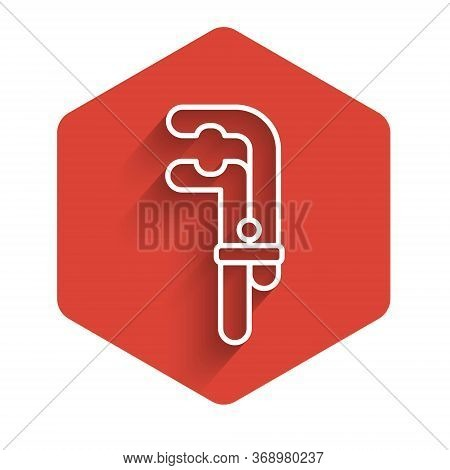 White Line Clamp Tool Icon Isolated With Long Shadow. Locksmith Tool. Red Hexagon Button. Vector Ill