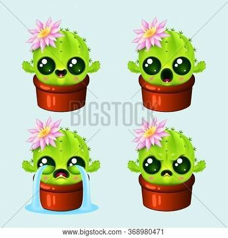 Set Of Funny Cartoon Emotion Cactus . Cute Plant With Kawaii Faces And Pink Flower In Pot