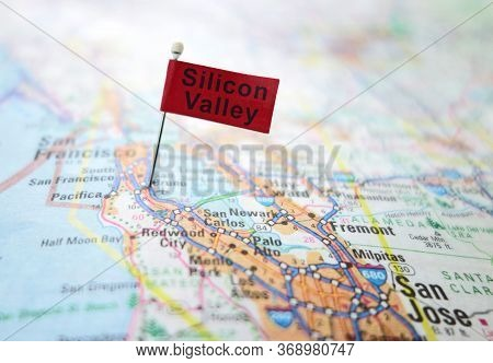 Raleigh,nc/usa - 5-22-2020: Silicon Valley Pin Flag In A Map Of The San Francisco Bay Area, Includin