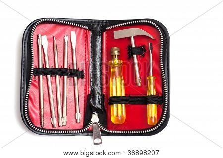 Tool set in a case with zipper poster