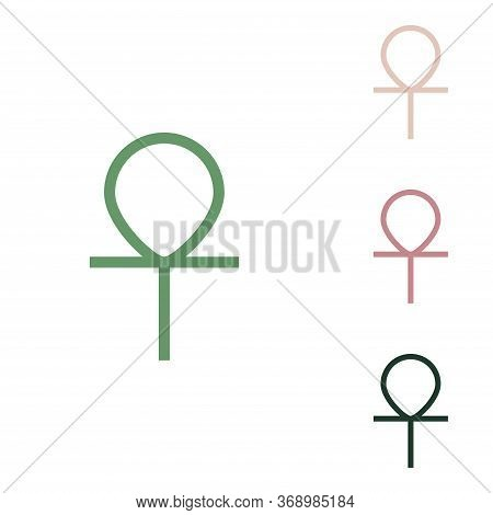 Ankh Symbol, Egyptian Word For Life, Symbol Of Immortality. Russian Green Icon With Small Jungle Gre