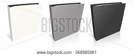 Empty Office Folders Binder White, Grey, Black. Illustration 3d Rendering. Isolated On White Backgro