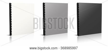 Empty Comb Binder White, Grey, Black. Illustration 3d Rendering. Isolated On White Background.