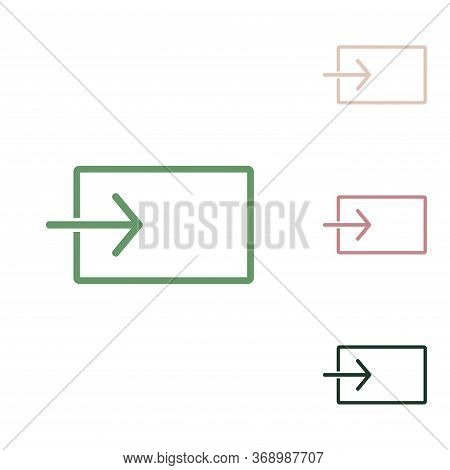 Input Sign. Russian Green Icon With Small Jungle Green, Puce And Desert Sand Ones On White Backgroun