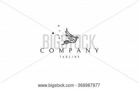 Vector Logo On Which An Abstract Image Of A Magical Flying Bird, Leaving Behind Itself A Trail Of St