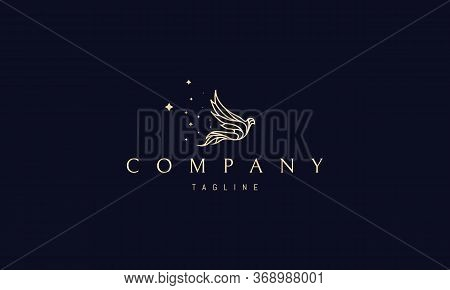 Vector Golden Logo On Which An Abstract Image Of A Magical Flying Bird, Leaving Behind Itself A Trai