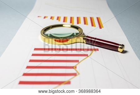 Chart Business Chart Diagram Statistic Loupe In Perspective. Red And Orange Chart. Data Analyzing Co