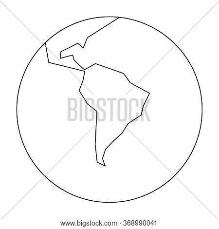 Simplified Outline Earth Globe With Map Of World Focused On South America. Vector Illustration