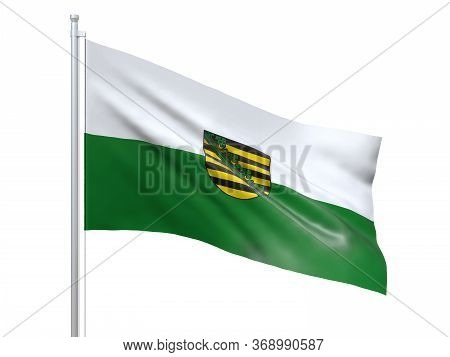 Saxony Flag Waving On White Background, Close Up, Isolated. 3d Render