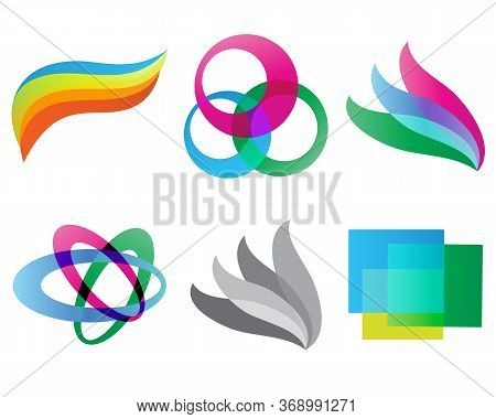 Set Of Geometric Colored Shaped Logo Isolated Vector Illustration