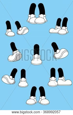 Cartoon Legs On Blue Background. Animated Hands Show Different Gestures. Cute Leg In Boots  Collecti