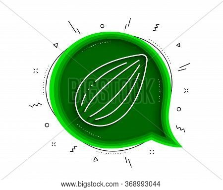Almond Nut Line Icon. Chat Bubble With Shadow. Tasty Nuts Sign. Vegan Food Symbol. Thin Line Almond