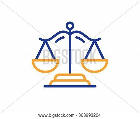 Justice Scales Line Icon. Judgement Scale Sign. Legal Law Symbol. Colorful Thin Line Outline Concept