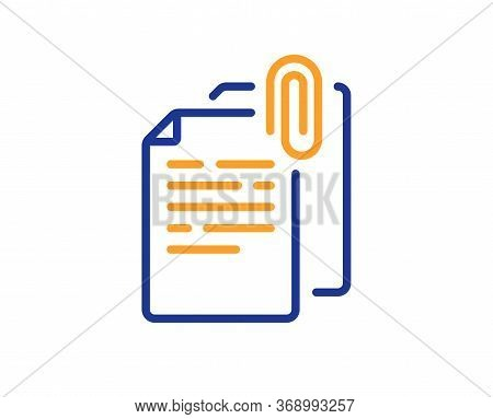 Document Attachment Line Icon. File With Paper Clip Sign. Office Note Symbol. Colorful Thin Line Out