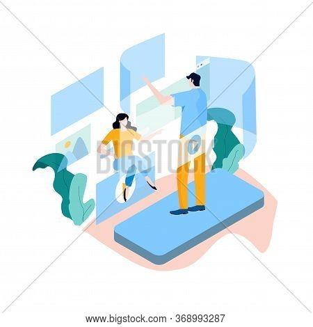 Digital Content Management, Creating Online Content, Online News Flat Vector Illustration Design For