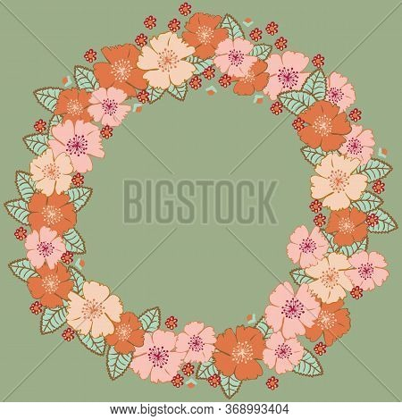 Dog Roses Floral Wreath Illustration On Green Background. Girly Placement Print With Space For Text