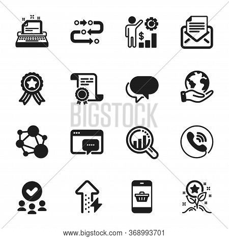 Set Of Technology Icons, Such As Smartphone Buying, Loyalty Points. Certificate, Approved Group, Sav